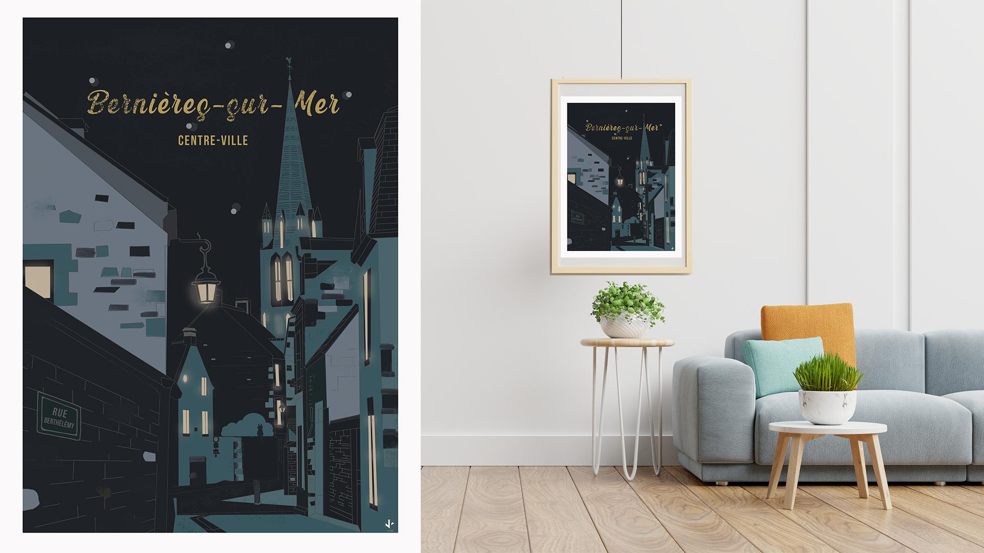 affiche illustrée Bernières sur mer Côte de Nacre Normandie