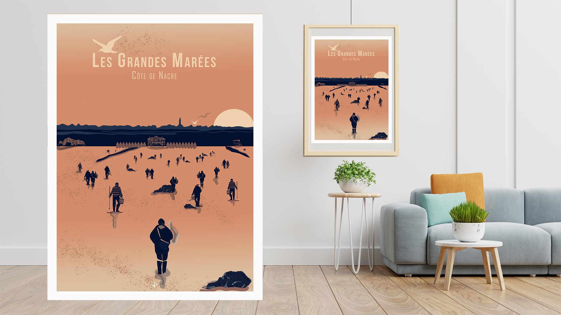 affiche illustrée Les grandes marées Côte de Nacre Normandie