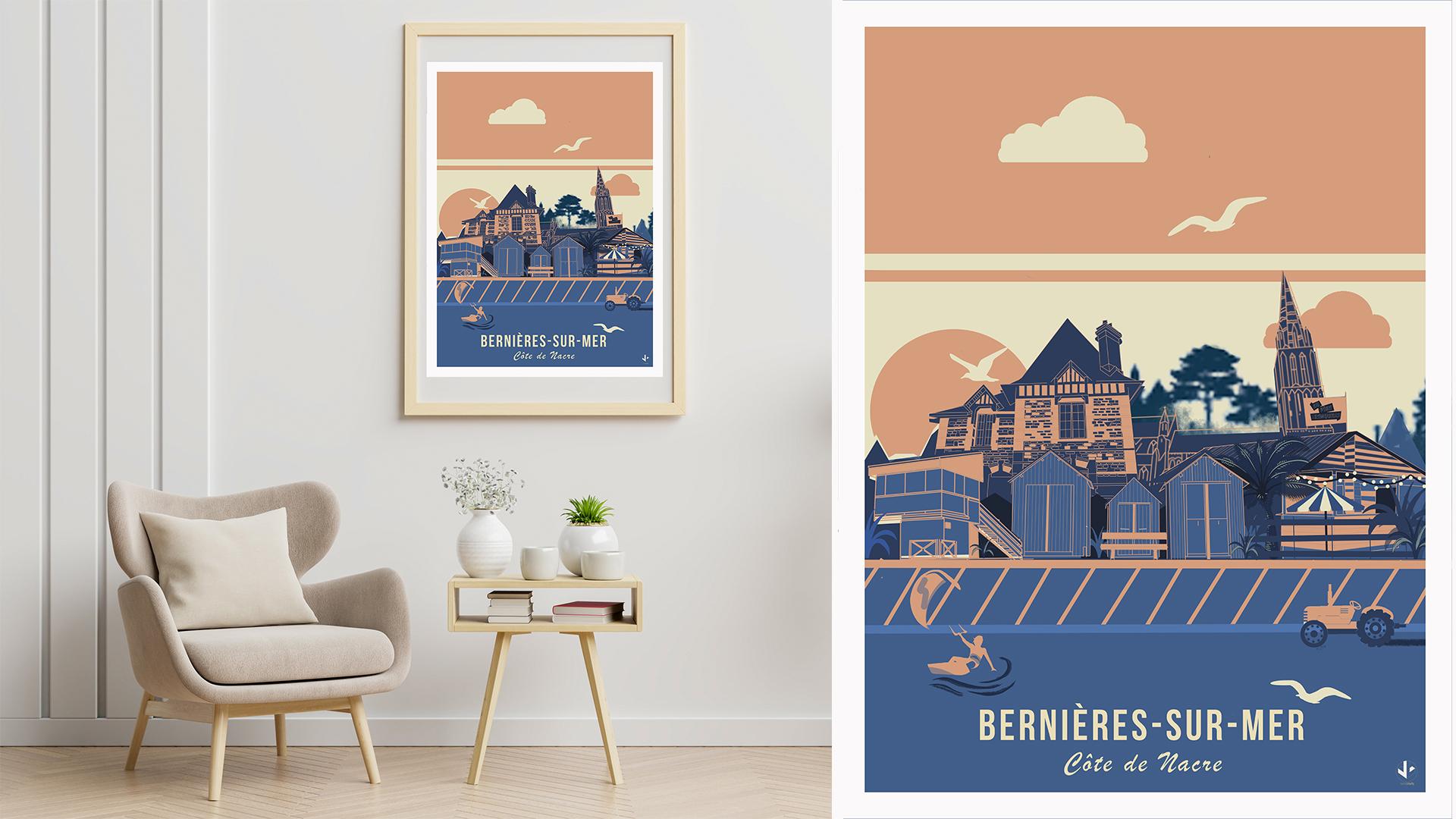 affiche illustrée la digue de Bernières sur Mer