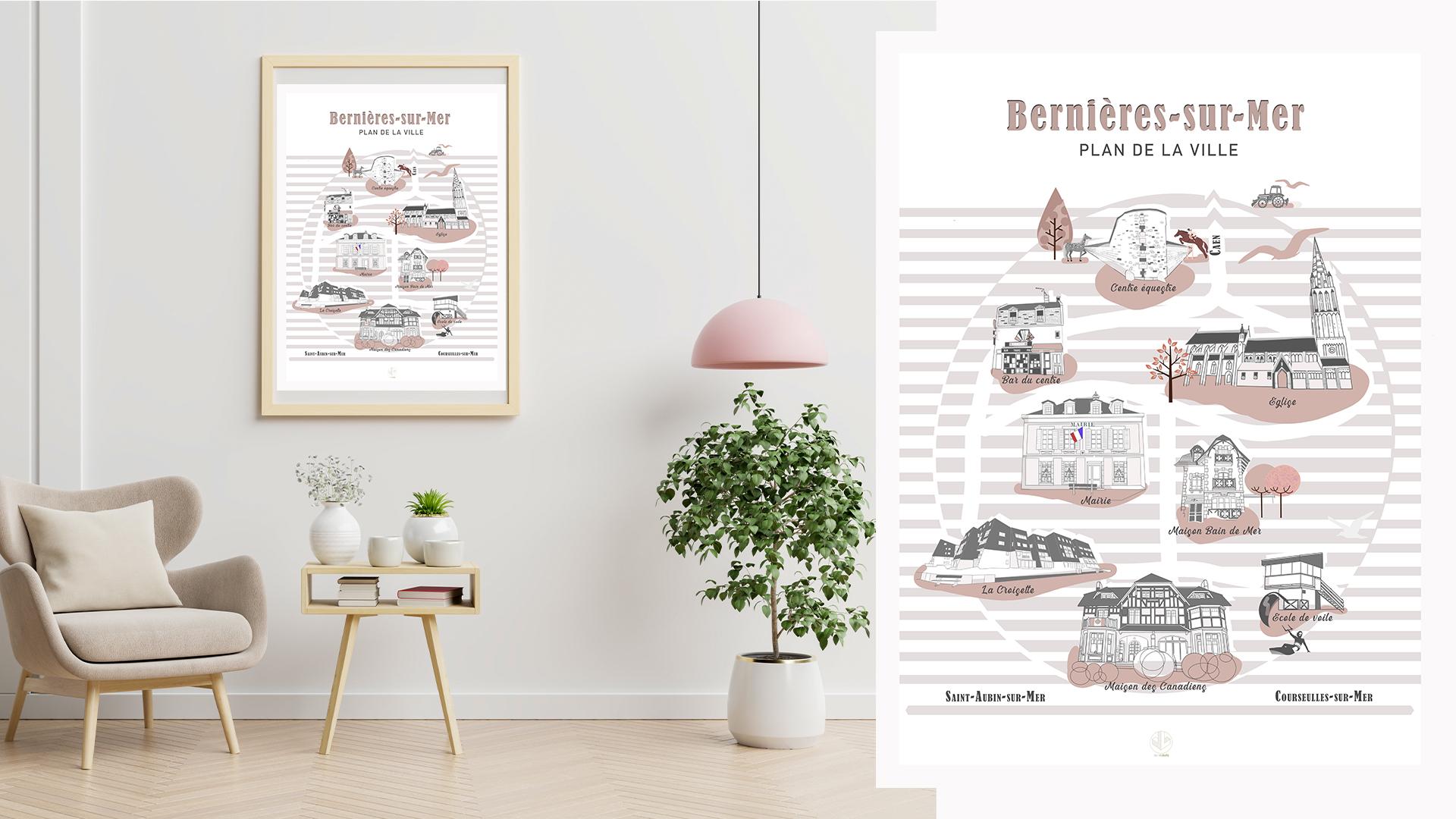 affiche illustrées Bernieres sur Mer Côte de Nacre Normandie