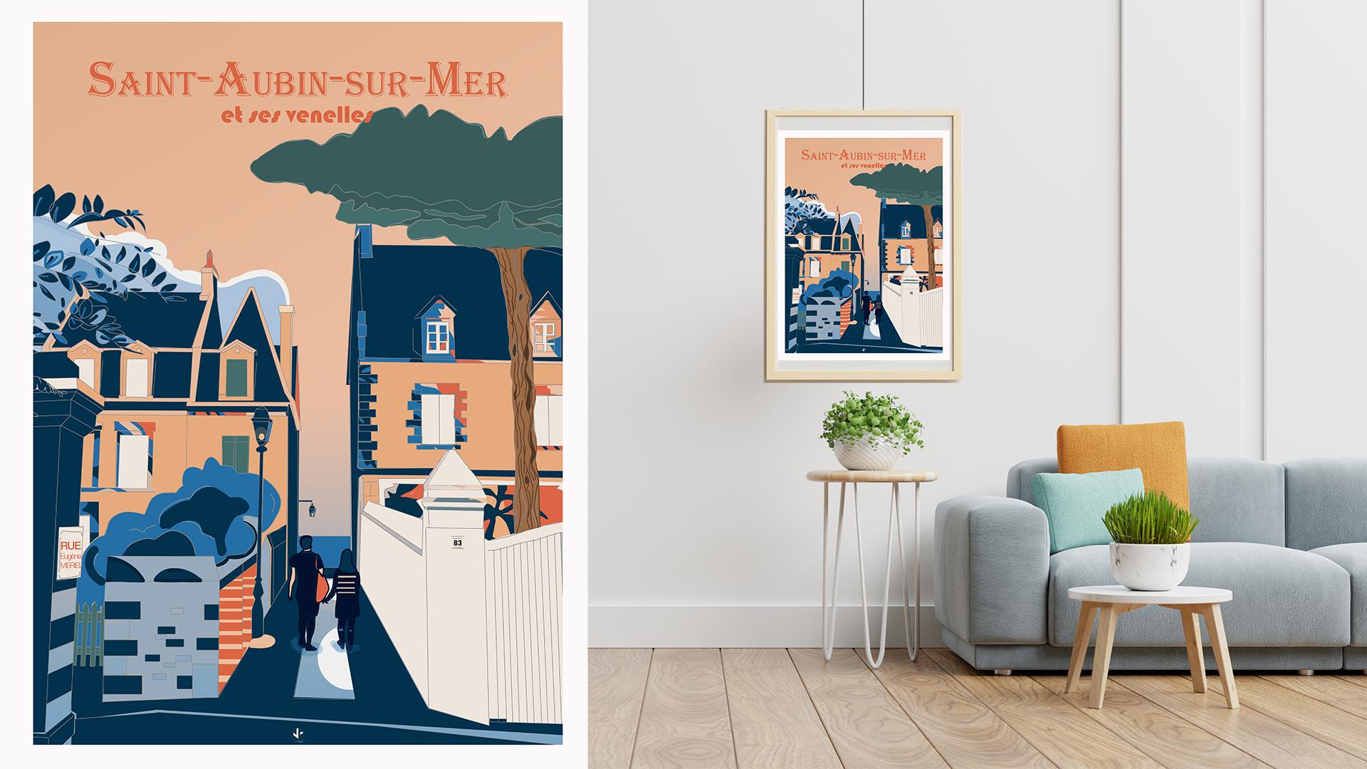 affiche illustrée Venelles Saint Aubin sur Mer Côte de Nacre Normandie